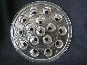 """Vintage Solid Glass Flower Arranging Frog / 16 Hole / 5"""" Diameter"""
