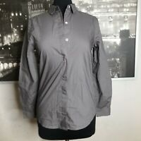 Everlane XS Button Front Shirt Long Sleeve Cotton Gray Career Casual Wear NEW