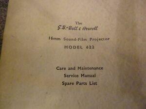 Cine projector BELL & HOWELL Maintenance Service Manual  Model 622 Original Copy