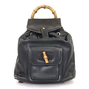 100% authentic Gucci bamboo 003-1705 0030 backpack used 1196-3-e@1