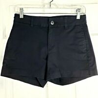 GAP Size 0 Black Khakis Stretch Chinos Womens Shorts Flat Front Cotton & Spandex