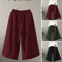 ZANZEA Women Plain Basic Palazzo Pants Culottes Capris Flare Wide Leg Trousers
