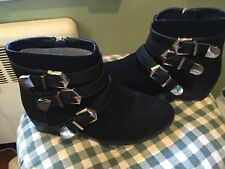 Girls Report Brand Size 2 Suede & Gold Buckles Maribeth Boots NWOT in Box!