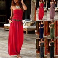 Womens Bandeau Holiday Cold Shoulder Long Dress Ladies Summer Maxi Dress
