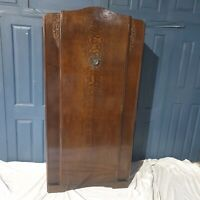 Vintage Single Art Deco Wardrobe Mid Century Antique Carved Oak Veneer 1930's