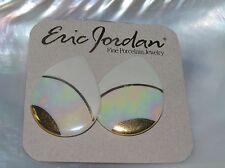 Eric Jordan Handmade Cream & Gilt Teardrop Porcelain Post Earrings for Pierced