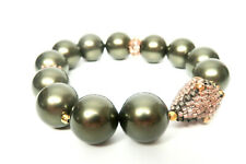 MIGUEL ASES  Chunky Grey -Green FWP and Rose Gold Stretch Bracelet- brand New