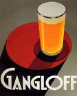 POSTER GANGLOFF GLASS OF LIGHT BEER ART DECO DRINK VINTAGE REPRO FREE S/H