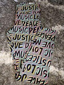 Girls justice full length legging size 8 new multi neon logo/graphics