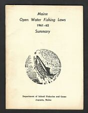 1961-2 Maine Open Water Fishing Laws - Department of Inland Fisheries and Game
