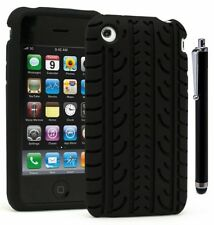 For iPhone 3G,  Slim Fit TPU Flexible Thin Gel Case Cover -Black +Stylus