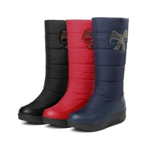 Women Snow Boots Elderly Winter Cotton Shoes Casual Round Toe Warm Non-slip D