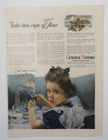 Original Print Ad 1944 GENERAL MOTORS Vintage Artwork Buy War Bonds Girl