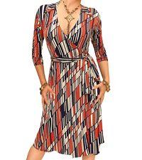 New Printed Block Stripe V Neck Collared Wrap Dress