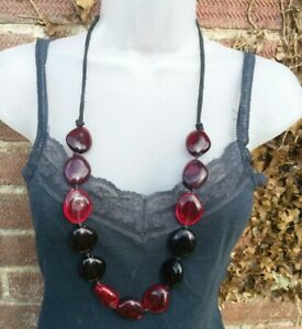 Womens long Necklace plastic pebble beads red multi tone costume Jewellery