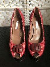 Ladies L'AUTRE CHOSE Red & Cream Textile High Heel Shoe Made In Italy Size EU 41