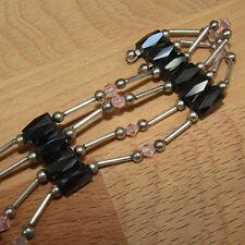 """HEMATITE Magnetic Wrap Necklace Bracelet Anklet Magnet Chakra Silver Pink 23"""""""