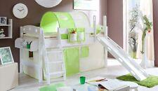 Lit mezzanine avec toboggan KENNY Pin teinté blanc tissus Beige-Vert
