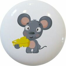 MOUSE with Cheese Kids Cabinet DRAWER Pull KNOB Ceramic