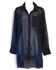 MONSOON L 16 CHIFFON SHEER SHIRT LONG TOP BLOUSE FLORAL BLACK BLUE BOHO BLOGGERS