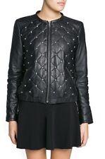 Mango Studded Leather Bomber Jacket Size S