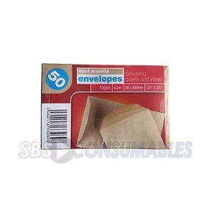 50 Mini Manilla Envelopes. 70gsm Brown Wage School Dinner Money Envelope 98x68mm