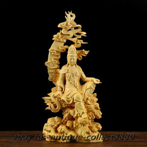 China Box-wood Hand Carved Buddhism Water Moon Kuan-Yin Kwan-yin Guan Yin Statue