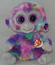 "New! 2018 Ty Beanie Boos ZURI the Monkey Medium Buddy 9"" nwt New Glitter Foil"