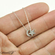 "Sterling Silver 925 CZ Half Moon Star Pendant Necklace Rhodium Finish 16""-18"""