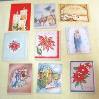 9 Vintage Greeting Card Christmas 1950-80s House Candles Poinsettia Religious C8