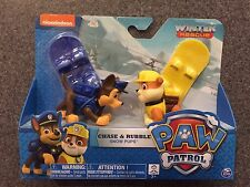NIP PAW PATROL WINTER RESCUE CHASE & RUBBLE SNOW PUPS WITH BOARDS SHIP EVERYDAY