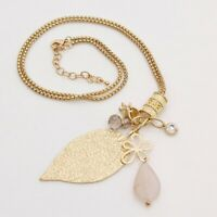 Gold Pendant chains long charm sweater statement leaf necklace Gems