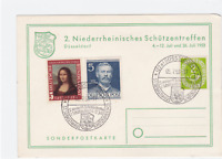 Germany 1953 Lower Rhine protection meeting special postmark stamps card R21102
