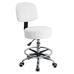 KKTONER Swivel Round Rolling Stool PU Leather with Adjustable Foot Rest, Height