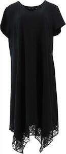 H Halston Petite V-Neck Short-Sleeve Midi Dress Lace Trim Black PS NEW A365208