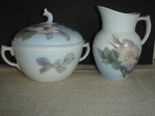 Royal Copenhagen Sugar Bowl w/Lid & Creamer Floral Pattern Made in Denmark