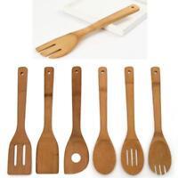 6 Bambus Kitchen Set Küchenhelfer Küche Schaufel Seiher Kochlöffel Holzlöff W1N0