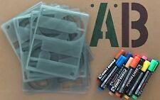 150 mm Alphabet Stencil Numbers Symbols Signwriting Kit + 12 Parmanent Marker