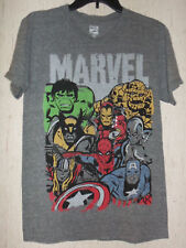 NWT MENS MARVEL COMICS SUPER HEROES MONTAGE HEATHER GRAY T-SHIRT  SIZE S