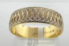 14KT TWO TONE GOLD  CORONATION WEDDING BAND RING SZ 9.5 (4R 130-10085)