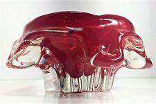 BEAUTIFUL VINTAGE RUBY GLASS DRAPED ASH TRAY / BOWL | MURANO ART GLASS