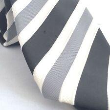Donald J Trump Designer Mens Tie Signature Gold Black White Diagonal Striped