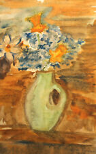 1959 FAUVIST WATERCOLOR PAINTING STILL LIFE WITH FLOWERS SIGNED