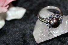 Silberring Edelsteinring Silber 925 Tansanit,6 kleine br  Große-63 (20,0 mm )