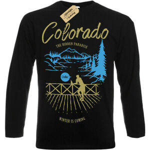 Versteckte Paradise T-Shirt Colorado Winter Coming Herren Langarm