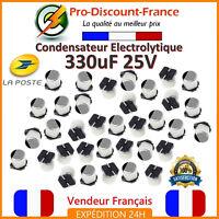 Lot Condensateur Électrolytique 330µF 330uF 330MF 25V 105° Aluminium SMT