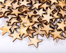 "100 Qty Small 1 inch Wood Stars Craft Supply Flag Wooden Stars DIY 1/"" x 1/"" x1//8/"""