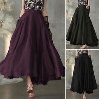 ZANZEA UK Women Elastic Waist A Line Long Skirts Casual Loose Swing Flared Dress
