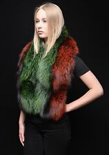Saga Furs 100% Green Red Silver Fox Fur Puritan Shoulder Wrap Stole Scarf Shawl