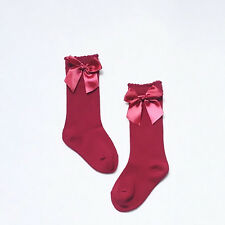 Toddler Kid Baby Girl Knee High Long Socks Bow Cotton Casual Stockings 0-4Y